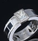 Solitaire diamantring af platin ca. 1.01