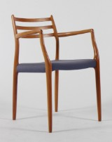 Niels O. Møller. Armchair with solid cherry wood frame