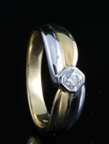 18kt Flanders-cut solitaire diamond ring approx. 0.21ct