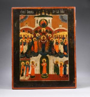 Russisk ikon, Gudsmoder-ikon med Pokrov-motiv, 1800-tallet - Dk, Vejle, Dandyvej - Russisk ikon, Gudsmoder-ikon med Pokrov-motiv. Ikonen viser to scener, som udspilles i Blachernen-kirken i Konstantinopel. Øverst: Gudsmoder, omgivet af engle og skarer af hellige, hæver armene med sit slør for at beskytte menighe - Dk, Vejle, Dandyvej
