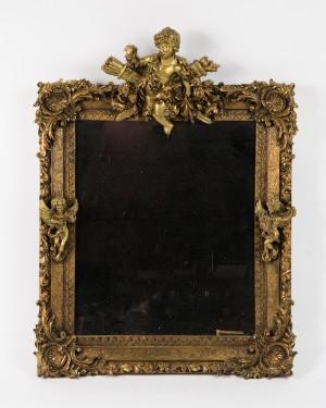 Spiegel Mit Plastischen Putten Gold Und Bronzefarbene Fassung