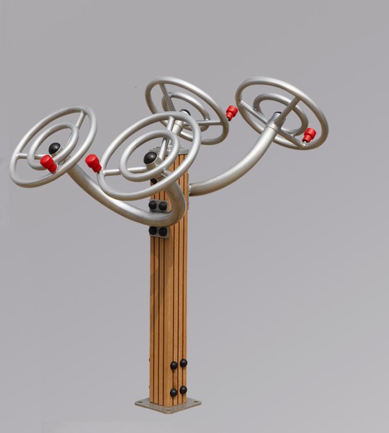 Udendørs træningsmaskine, Tai Chi Spinner - Udendørs træningsmaskine, model Tai Chi Spinner Denne maskine er designet til at træne og styrke muskulatur og fleksibilitet i skuldre, albuer, håndled og kraveben. Træner koordinering af bevægelser med begge arme. Mål: H. 140 B. 102 D. 111,5...