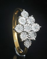 Goldplated diamond ring approx. 0.15ct