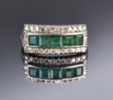 Smaragd- og diamantring af 18 kt