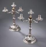 Et par kandelabre af sølv, underdelene Christian Werum 1773, overdelene Anton Michelsen 1848 (2)