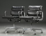 Charles Eames. A pair of Soft Pad office chairs, black leather (2)
