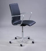 Arne Jacobsen. Oxford kontorstol, model 3291, sort classic læder, 2017 med certifikat