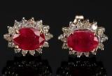 Ørestikkere, rosét af rubin og diamanter.