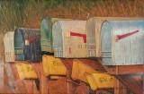 Ubekendt kunstner, olie på lærred, postkasser