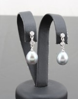 Tahitian pearl and cubic zirconia earrings