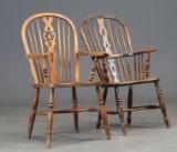 To højryggede Windsor stole af elmetræ, 1900-tallet (2)