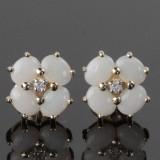 Par Opal og diamant ørestikker i 14 kt. guld(2)