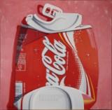 Hans Due. Acryl auf Leinwand, 'Coca-Cola Crashed 33 CL'