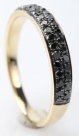 Ring med sorte diamanter fra FHP, 14 kt. guld, 0.44 ct..