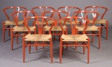 H. J. Wegner. Wishbone chairs, model CH-24, orange varnish (9)