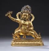 Buddha af  bronze, stående på lotustrone, Tibet, 1900-tallet