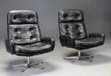 Par lænestole af sort læder (2)