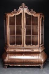 Glass cabinet, veneered mahogany, Dutch Baroque style, 20th century