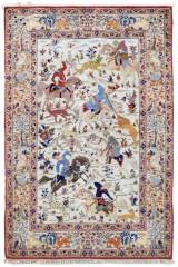 Matta, silke, figural Isfahan, 160 x 105