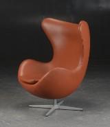Arne Jacobsen. Lounge chair, 'The Egg', tilt function, cognac-coloured leather