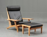 H. J. Wegner. Lounge chair with ottoman, model GE-375 (2)