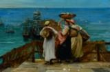Philip Richard Morris. Oil on canvas. Fishermen's wives at harbour