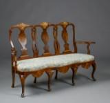 Sofa bench, walnut and parcel-gilt wood