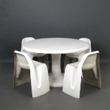 Fibreglass seating set from the 1960/70, LP Club, Salbris, attributed to Charles Zublena (5)