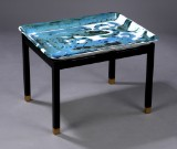 Jens Birkemose. Tray table, faience, black-lacquered wood frame