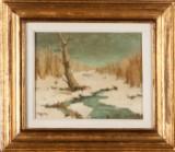 Paul Uzum, a painting, winter landscape