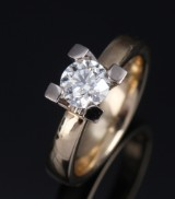 Guldsmedene. Solitaire diamond ring, 14 kt. gold with diamond, approx. 0.91 ct. H/VS2