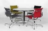 Charles Eames. Four chairs, model EA 107, multicoloured, with round table (5)