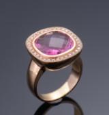 Stenstrup. Tourmaline and brilliant-cut diamond ring, 0.34 ct, 18 kt.