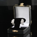 Earrings in 14k set with diamonds approx. 0.15ct
