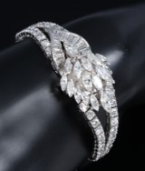 Vintage diamond bracelet with concealed Omega watch, platinum, total approx. 15.5 ct. 1940s