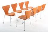 Arne Jacobsen. Sæt på otte stole model 3107. (8)