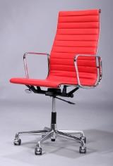 Charles Eames. Kontorstol, model EA-119, rød læder