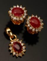 Smykkesæt, 14 kt guld med rubin og diamanter