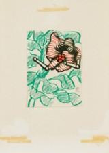 Lennart Rodhe färgkrita med collage