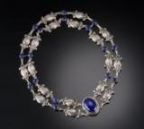 Georg Jensen. Stor halskæde af sølv med lapis lazuli