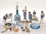 Royal Copenhagen, Bing & Grøndahl, Dahl Jensen. Figurer, askebæger og bordlampe (12)