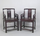 2 Chinese chairs with carving (2)