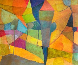 Helga Radener-Blaschke, oil on canvas, title: Autumn landscape (EUR 2,450)